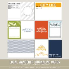 Adventure can be found near or far, and I believe it's just as fun to document local explorations as it is to record once in a lifetime travels. Use these cards to document your adventures in your own city!This set of ten digital journaling cards is perfect for pocket page protectors, scrapbooking and mini-books. Included in this set are individual high resolution .png files and two printable .pdf pages.This set contains: 8 - 3x4* Journaling cards 2 - 4x6 Journaling ...