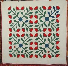 VIBRANT 1870's Vintage Turkey Red & Green 4-Block Floral Applique Antique Quilt!