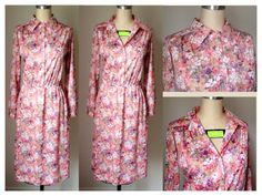 Long Sleeve Floral Vintage Shirt Dress by ExoticPearIndustries, $35.00