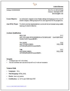 2 Page Resume Examples Alluring B Tech Resume Format For Fresher  Resume Format  Pinterest  Word .