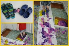 Strawberry painting, paint walks in crocs, and other fun Pete the Cat sensory activities