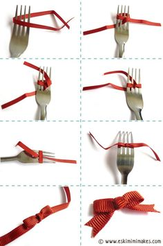 How to make a tiny bow using a fork. Once I got the hang of it, I made several bows in just a few minutes. Perfect for greeting cards, ornaments, etc. Fork Bows - How To Tie A Bow Using A ForkYesterday I posted about how to use a fork to make pom-pom Fork Bow, Arts And Crafts, Paper Crafts, Ribbon Bows, Ribbons, Diy Ribbon, Tying Bows With Ribbon, Ribbon Bow Tutorial, Ribbon Hair