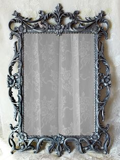 """Ornate vintage 1970s Turner Mirror painted Charcoal Gray with metallic silver highlights. 29"""" x 29"""". ~ $185 by WildMountainStudio on Etsy https://www.etsy.com/listing/269669762/ornate-vintage-wall-mirror-charcoal-gray"""