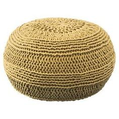 mustard knit pouf