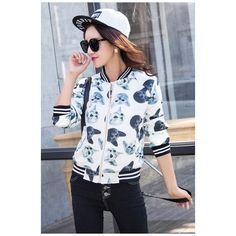2016 Autumn New Cute Cat Print Striped Trim Baseball Jacket (£30) ❤ liked on Polyvore featuring outerwear, jackets and animal jacket