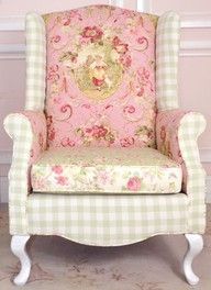 Mixed patterns in wing back chair...pink and celery seem shabby-chic even when it's not shabby.