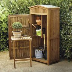 Every thought about how to house those extra items and de-clutter the garden? Building a shed is a popular solution for creating storage space outside the house. Whether you are thinking about having a go and building a shed yourself Garden Storage Cabinet, Patio Storage, Garden Storage Shed, Outdoor Storage, Storage Sheds, Small Garden Tool Shed, Storage Racks, Storage Area, Storage Boxes