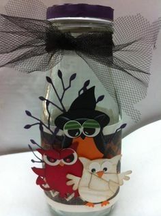 Halloween Punch Art Recycled Bottle by Rose Reynolds - Cards and Paper Crafts at Splitcoaststampers Dulceros Halloween, Halloween Punch, Halloween Paper Crafts, Halloween Cards, Holidays Halloween, Halloween Images, Halloween Treats, Starbucks Glass Bottle Crafts, Starbucks Bottles