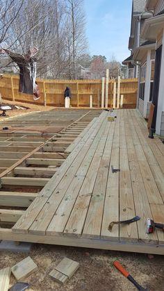 DIY Floating Ground-Level Deck 2019 Duo Ventures: DIY Floating Ground-Level Deck The post DIY Floating Ground-Level Deck 2019 appeared first on Deck ideas. Building A Floating Deck, Building A Deck, Backyard Patio Designs, Backyard Landscaping, Small Deck Designs, Deck Over Concrete, Deck Footings, Deck Framing, Diy Deck