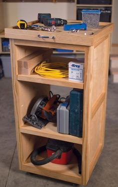 This rolling cart offers lots of space for storing tools without taking up much floor space. Plus, it's on wheels, so you can roll it out when you're working, and tuck it away in between projects. There's even a removable tray on top that you can use to carry hardware or small tools. Find the FREE project plan, along with many others, at buildsomething.com