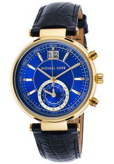 Michael Kors  Women's Sawyer Navy Blue Genuine Leather Blue Dial