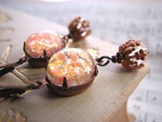 Lampwork glass earrings Coral and Copper by shadowjewels on Etsy