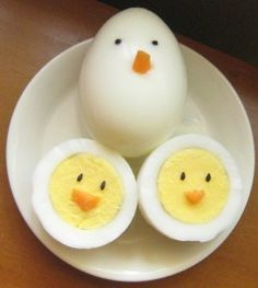 hard-boiled eggs, sesame seeds and carrot. . . cute!