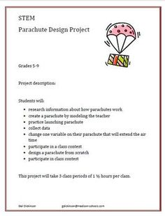 STEM project - design a parachute. Science Curriculum, Science Classroom, Science Lessons, Teaching Science, Child Development Activities, Science Activities, Science Projects For Kids, Stem Projects, Stem Science
