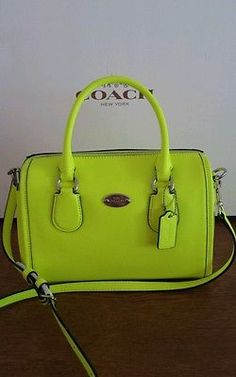 New Coach Crossgrain Mini Bennett Satchel Cross body in SV/Neon Yellow - F34697