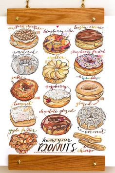 A quick guide to knowing your doughnuts (because everyone has a favorite) donut drawing Arts Bakery, Bakery Decor, Cooking Recipes, Cooking Tips, Cooking Icon, Cooking Chef, Healthy Cooking, Turkey Burger Recipes, Cute Food Drawings