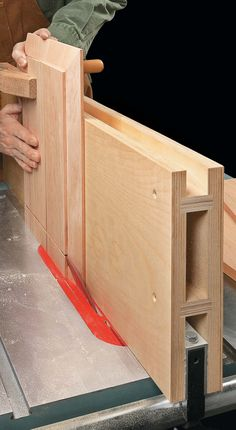 Table Saw Tricks For Making Vertical Cuts: How-To: Cut Rabbets With A Tall Fence: Using the table saw to shape the edges of a workpiece is a snap with a couple of easy-to build accessories and simple techniques. Woodworking Jig Plans, Woodworking Table Saw, Woodworking Workshop, Easy Woodworking Projects, Woodworking Techniques, Woodworking Furniture, Woodworking Shop, Table Saw Accessories, Diy Table Saw