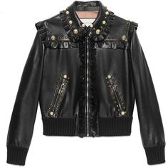 Gucci Studded Leather Bomber ($5,990) ❤ liked on Polyvore featuring outerwear, jackets, black, flight jacket, embroidered bomber jacket, blouson jacket, flight bomber jacket and studded jacket