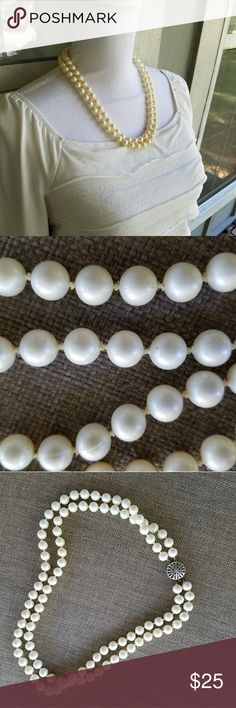 """Faux Pearls Two Strands Necklace Beautiful faux pearl necklace, heavy, could be glass pearls. Good condition, needs some cleaning. May be vintage based on the clasp. Cream colored. Can be dressed up or down. Wear as a costume jewelry piece. Shorter strand length 21"""". 50s 20s wedding fancy formal bride bridal bridesmaid Jewelry Necklaces"""