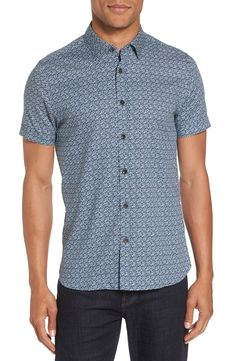 New Ted Baker London Skwered Extra Slim Fit Print Sport Shirt ,NAVY fashion online. [$149]newtopfashion top<<