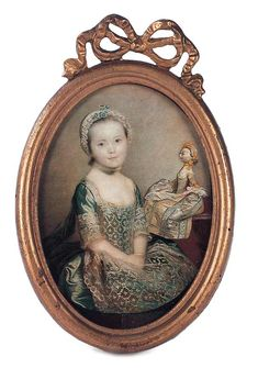 An early 19th Century hand-tinted engraving depicts a child of the 18th century seated next to a table on which is posed her toy wooden doll.  - Theriault's Antique Doll Auctions