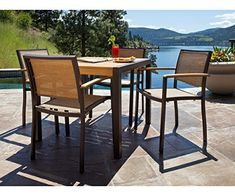 Bayline 5 Piece Dining Set with Euro Table ** More info could be found at the image url.(This is an Amazon affiliate link and I receive a commission for the sales) #PatioFurnitureandAccessories
