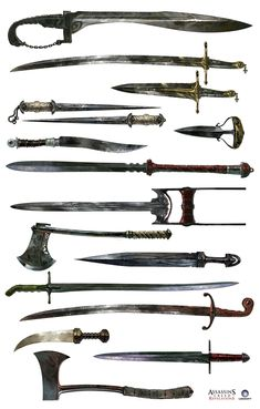 Concept art for some Templar weapons in Assassin's Creed; Revelations by Antoine Rol