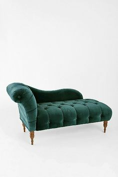 Edie Velvet Chaise - Dark Green