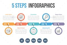 Five Steps Infographics Template PSD, Vector EPS, AI Illustrator