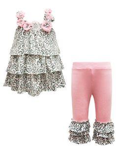 Baby Sara Hannah Banana Girls Little Leopard Pink Ruffle Pant Set Outfit $39.99