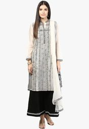 Biba Off White Solid Cotton Silk Churidar Kameez Dupatta Online Shopping Store