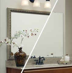 A frame was added to the plate glass mirror -while on the the wall. This easy, DIY update took just minutes! Frame style: MirrorMate's Gramercy. #frameyourmirror