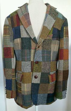 J Crew Tweed 40S patchwork sports coat Jacket Blazer single vent leather Buttons #JCrew #ThreeButton
