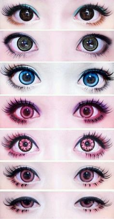 Kawaii Eye makeup with Circle Lenses Anime Make-up, Anime Eyes, Kawaii Makeup, Cute Makeup, Doll Makeup, Makeup Art, Makeup Eyes, Anime Eye Makeup, Lolita Makeup