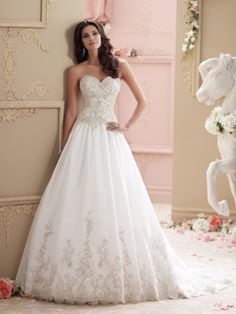 David Tutera Strapless organza ball gown wedding dress, hand-beaded embroidery & crystal organza dress w/ sweetheart neckline, elaborate hand-beaded & embroidered bodice w/ low curved back, dropped wa