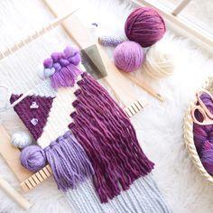 New purple piece just listed Weaving Loom Diy, Weaving Art, Tapestry Weaving, Hand Weaving, Yarn Crafts, Sewing Crafts, Weaving Wall Hanging, Wall Hangings, Loom Knitting