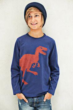 Lässiges Boys Longsleeve Shirt Design 'Dinosaur', Color Royal Blue