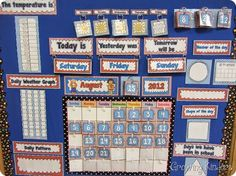 It's been about a year since I posted my It's Calendar Time daily calendar activities. My kiddos were SO successful with math this y. Classroom Calendar, Kindergarten Classroom, Kindergarten Calendar Board, Kindergarten Activities, Toddler Activities, Classroom Displays, Classroom Organization, Classroom Ideas, Classroom Management