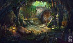 Cave by on DeviantArt Fantasy Art Landscapes, Fantasy Landscape, Landscape Paintings, Fantasy Rooms, Fantasy Bedroom, High Fantasy, Fantasy Rpg, Fantasy World Generator, Medusa Painting