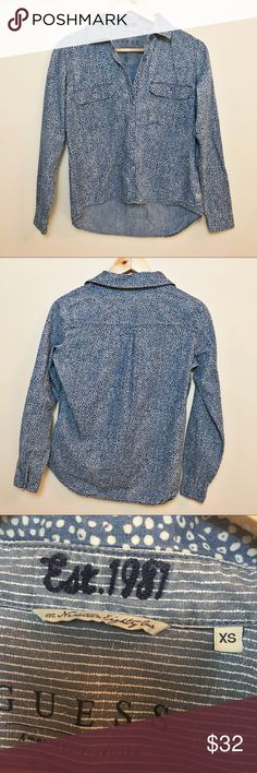 """GUESS Denim Button Down Patterned Top GUESS denim button down patterned top in size XS.   100% cotton  Chest: 40"""" Length: 26.25"""" Guess Tops Button Down Shirts"""