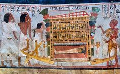 [EGYPT 29375] 'Funerary barque in Roy's tomb at Luxor.'  	A mural detail in the…