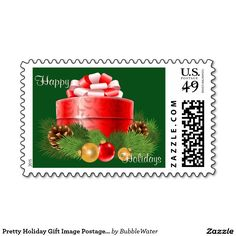 Pretty Holiday Gift Image Postage Stamp