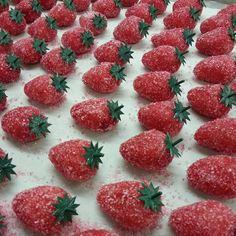 Marsepein aardbeien