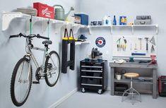 2020 Garage Updates You Can Do While Quarantined– Hunter Fan Garage Hanging Storage, Diy Garage Shelves, Garage Organization, Tool Storage, Organization Ideas, Organizing, Plan Garage, Garage Tools, Garage Workshop
