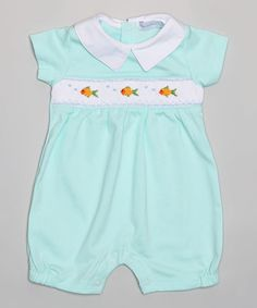Love this Green Smocked Little Fishes Pima Romper - Infant on #zulily! #zulilyfinds