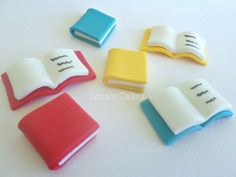 Items similar to 18 edible fondant books, School Party Cupcake Toppers, Storybook Birthday Party Baby shower, Graduation 2019 Teacher Gift Appreciation on Etsy - Schulanfang 2019 Fondant Cupcakes, Fondant Toppers, Cupcake Toppers, Fondant Molds, Teacher Cupcakes, Graduation Cupcakes, Graduation 2015, School Cupcakes, Teacher Appreciation Gifts
