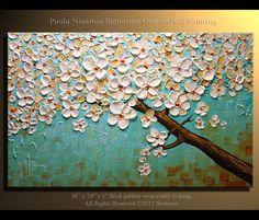 36 Blossom Oil Painting Modern Palette Knife Tree  by Nizamas, $300.00