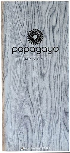 Papagayo -  Constructed from a Wood Print Faux Leather, this menu cover provides the look of aged wood, with the feel of luxurious faux leather
