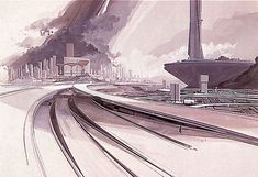 "Design and illustration by Syd Mead from the book ""Senteniel"" (1971).  Superhighways, Approach to the City.  Mead: ""If you've ever looked down on a major [highway] interchange you couldn't have helped but admire the very definite swings and tensions of the road curvatures, interlocking lanes and off-ramps, all based on precise control of the kinetic energy flowing over them."""