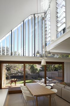 Raked ceiling with clerestory windows. Waverley Residence by Anderson Architecture